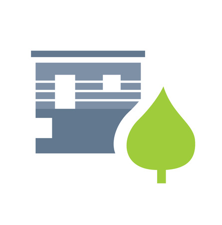Ecology living - architecture and house icon with green tree.  Vector