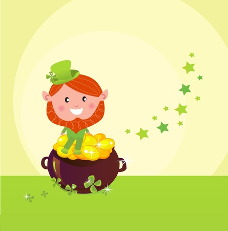 Happy St. Patricks Day! Cute little Leprechaun on Cauldron of Gold. Vector Illustration.  Vector