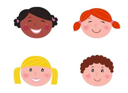 african woman face: Sei figli multiculturale con banner vuota. Illustrazione. Vettoriali