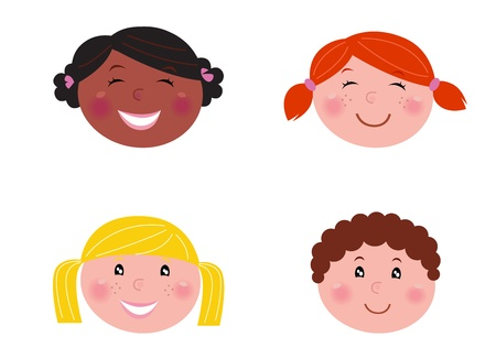 skin face: Six multicultural children with blank banner. Illustration.