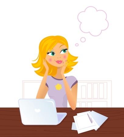Soñando despierto rubia mujer en el trabajo. Ilustración vectorial.