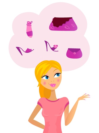shoppers: Cute woman thinking about  showing something. Vector Illustration. Illustration