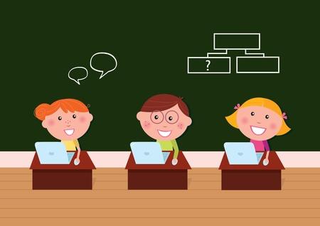 vie �tudiante: Geek gar�on et deux filles heureuses sur la le�on ordinateur dans shool. Illustration Vecteur.