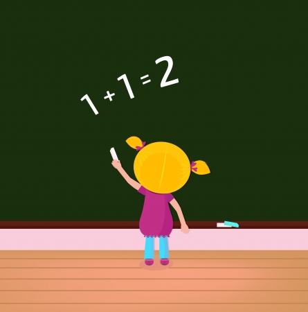 School and education: math girl writing numbers on black board. Vector Illustration.