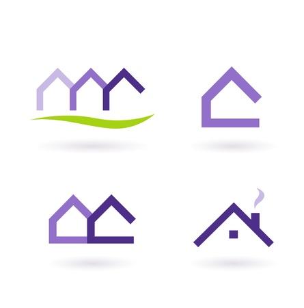 housing estates: Raccolta di immobiliare  icone di architettura. Formato vettoriale. Vettoriali