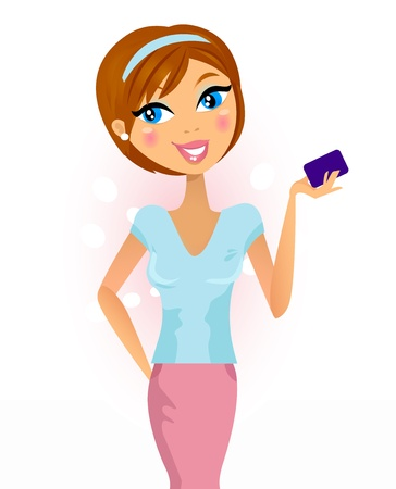 Stylish brown hair woman holding card. Vector Illustration. Vector