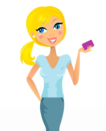 Business woman holding credit card in hand. Vector Illustration. Vector