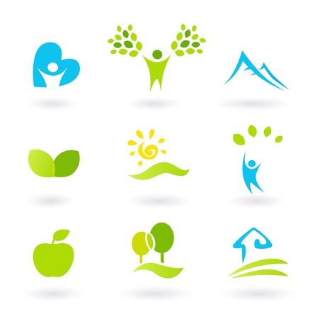 Icons set or graphic elements inspired by nature and life. Landscape, hills, people, leaves and organic living. Vector Illustration. Stock Vector - 9376040