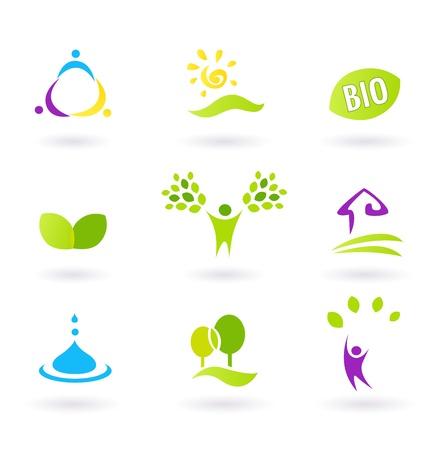 Iconos BIO inspirados por personas, granjas de vida y la naturaleza. Ilustración vectorial. Ilustración de vector