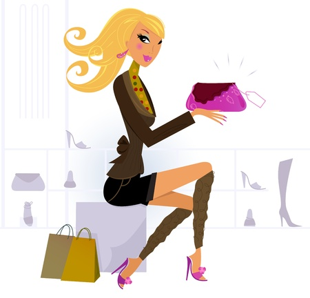 Vector Illustration of shopping blond hair woman.