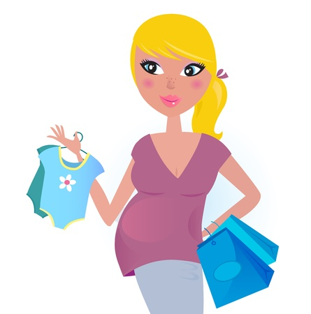 awaiting: Blond hair mom with blue shopping bags. Vector Illustration. Illustration