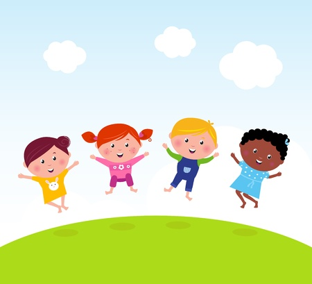 multi ethnic group: Happy jumping girls and boy. Vector illustration of kids group. Illustration