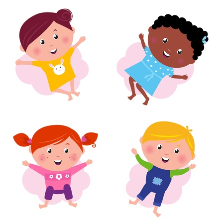 multi racial: Happy smiling jumping kids. Vector Illustration.