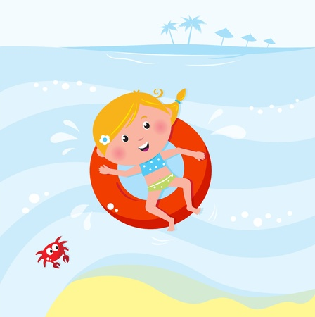 kids swimming pool: Vector cartoon illustration of cute swimming child.