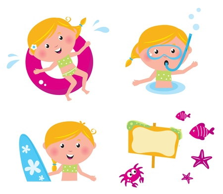 kids swimming: Swimming and mare icon set - vector collection of summer icons