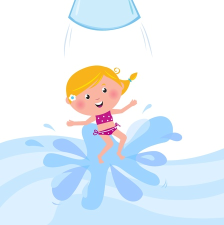enfant maillot de bain: Cute girl �claboussant en piscine, cartoon summer vector Illustration.