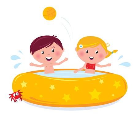 ni�os nadando: Felices ni�os sonrientes en piscina, vector de dibujos animados de ilustraci�n de verano.