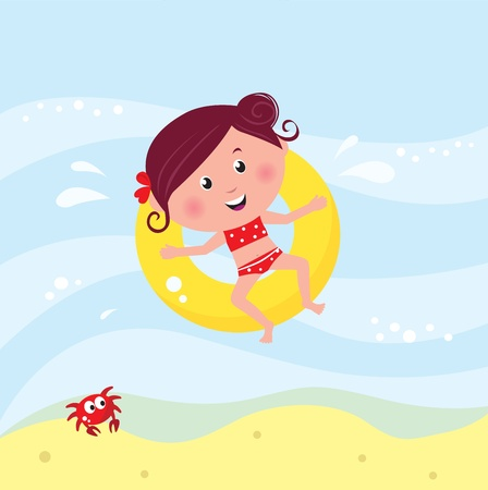 Vector cartoon illustration of cute swimming child. Vector