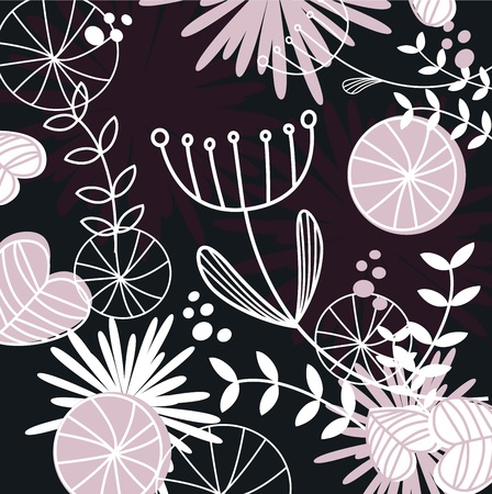 Retro background with vintage flowers - vector Illustration. Vector