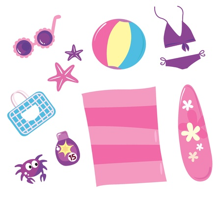 Vector collection of summer and travel icons - summer bag, sunglasses, beach accesories.. Stock Vector - 9474157