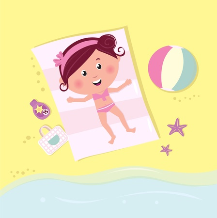 Brown - hair romance girl taking sun bath. Vector Illustration. Vector