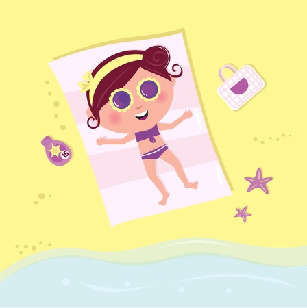 Summer & vacation: babe sunbathing on beach. Vector Illustration. Vector