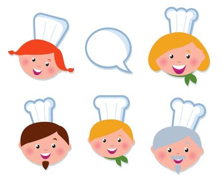 cook hats: Vector icono Definir - servicio de comida, familia de chef.