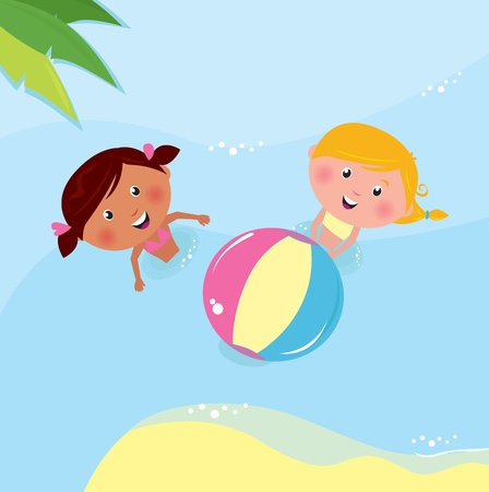 kids swimming pool: Ni�os felices en el mar. Ilustraci�n vectorial.