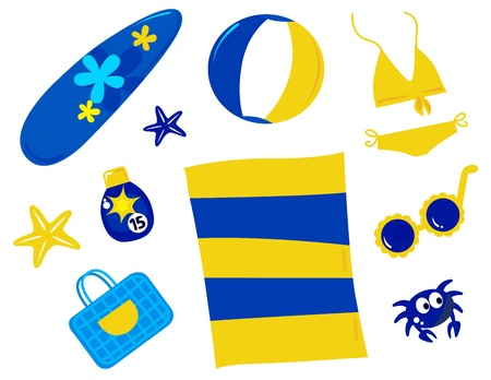 beach mat: Vector icons collection of summer and beach retro items.