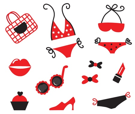 Vector collection of sexy girls items and accessories. Stock Vector - 9474166
