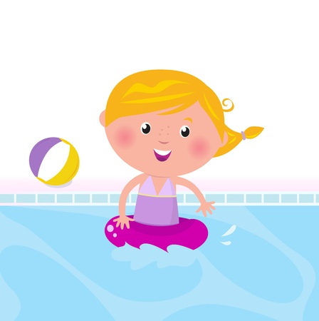Cute child in swimming pool. Vector Illustration. Vector