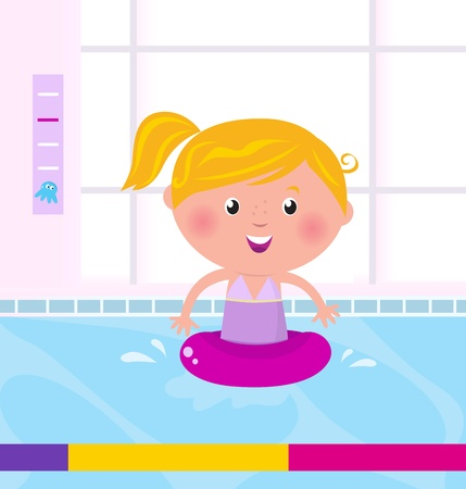 little girl bath: Cute child in swimming pool. Vector Illustration.