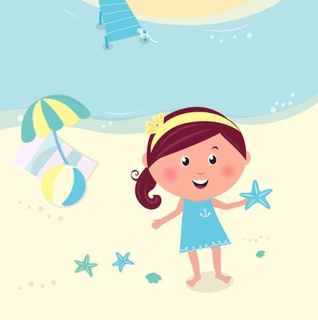 june: Cute happy girl on the beach seaside. Vector Illustration.