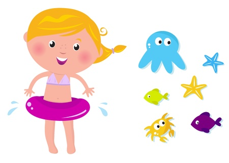 blue swimmer crab: Cute summer icons collection isolated on white. VECTOR Illustration