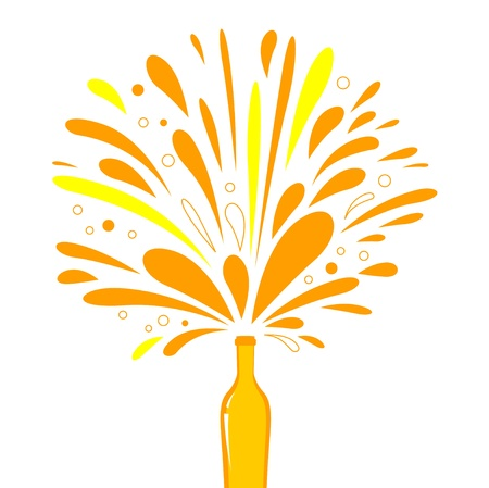 Orange splash wine or champagne. Vector Illustration