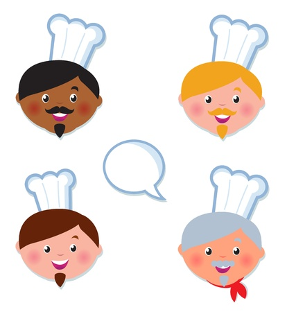 cartoon dinner: Cute multicultural Cheef icons - isolated on white.