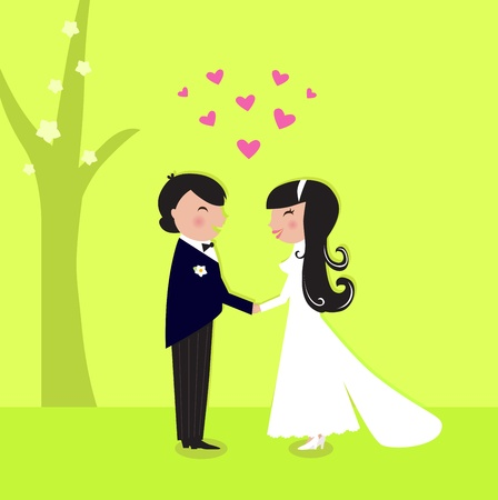 Wedding bride and groom. Vector Illustration. Vector