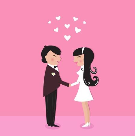 Par de boda - novios, aislados en rosa. Ilustración vectorial.