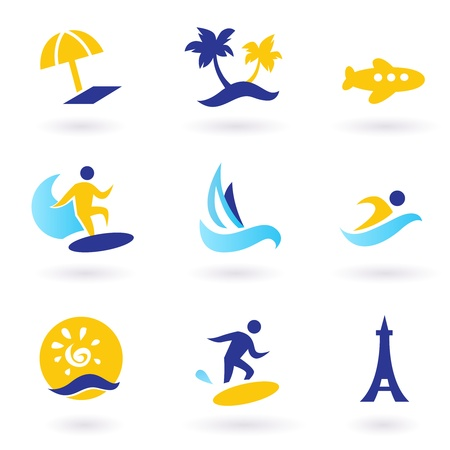 wave tourist: Icons collection of stylized travel and vacations icons. Vector