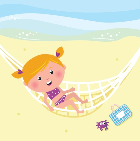 little girl bath: Cute girl relaxing on the beach - vector Illustration. Illustration