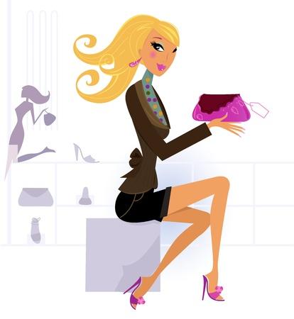 shopping center: Cute blond girl in shopping center  mall. Vector Illustration. Illustration
