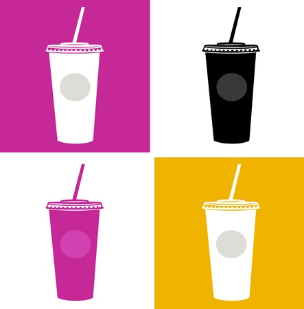 Plastic cups in pop art style. Vector Illustration.