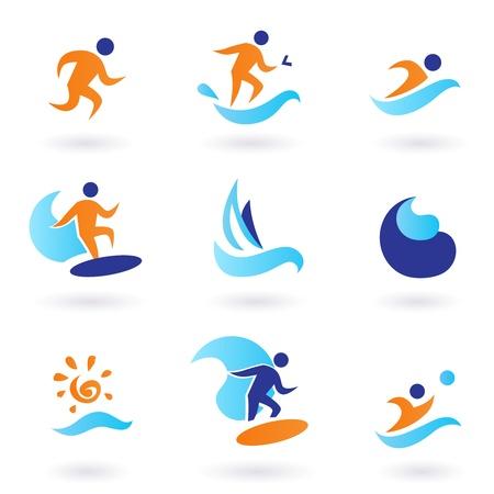 deportes nauticos: Colecci�n de vector de iconos de deporte de verano aislados en blanco. Vectores