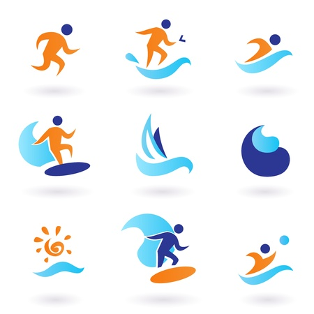 sport logo: Vector collection of summer sport icons isolated on white.
