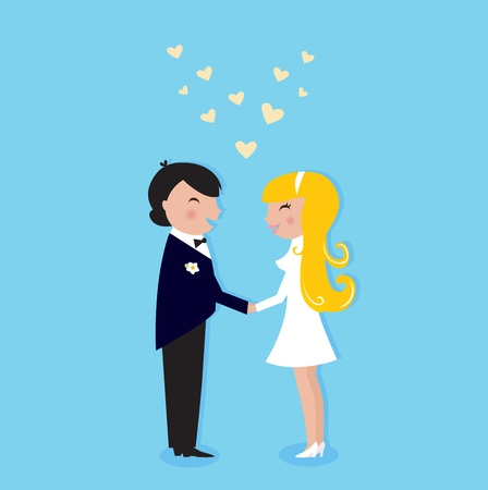 Cute Bride and Groom. Vector illustration.  Vector
