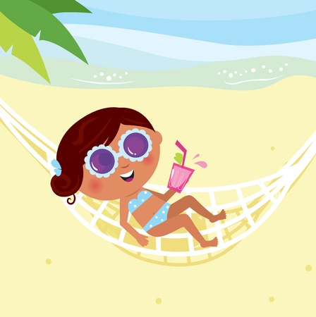 Summer & holiday: bikini girl sunbathing in hammock. Vector Illustration. Vector
