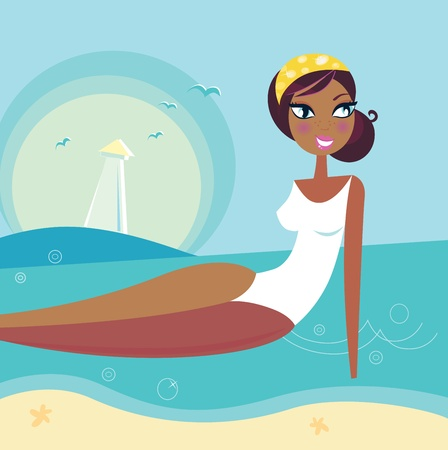 tanned: Cute stylized beach girl. Vector Illustration. Illustration