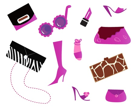 Pinky fashion women icons isolated on white. Vector Vector