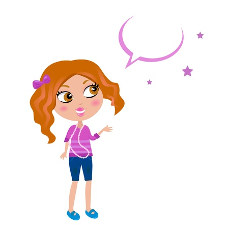 Little fashion girl in jeans and pink Tshirt. Vector Illustration. Stock Vector - 9666901