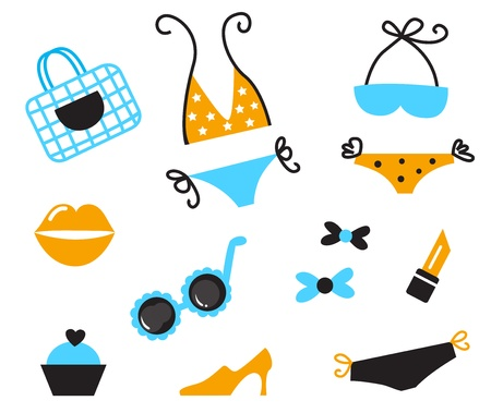 Collection of beach accessories and bikini icons. Vector Stock Vector - 9666896